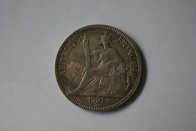 French Indochina 1921 H mint mark silver 1 Piastre, a high grade example
