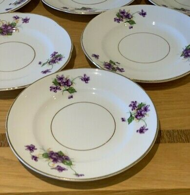 Set Of Six Ferneyhough Longton Hall Dessert Plates, England, Bone China