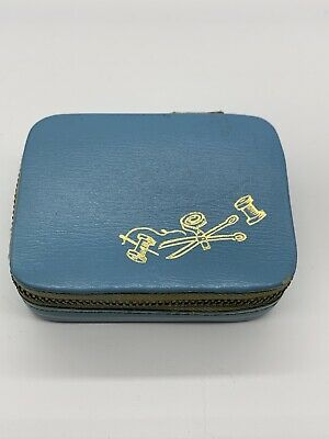 Vintage Zippered Blue Travel Size Sewing Kit Case Made in Austria