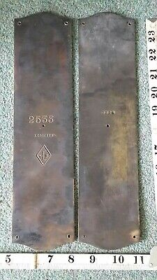 "2 Reclaimed Solid Brass Door Finger Plate ""WLR"" ""LEGGOTTS"" Vintage Antique"