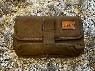 Jeep Olive Green Canvas Fold Over Small Flat Bag Clutch Cloth - Vintage - Great