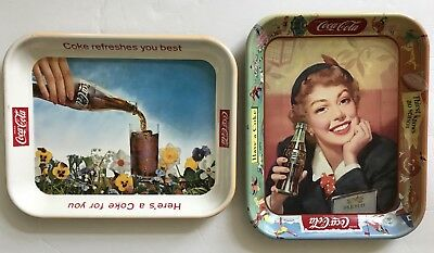 """2 Vintage Coca-Cola Trays, """"Coke Refreshes You Best"""" & """"Thirst Knows No Season"""""""