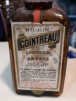 Antique Vintage 1889 COINTREAU bottle STAMPED with French Lable intact!