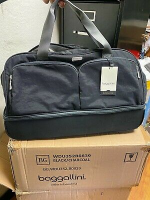 """Brand NEW Baggallini Rolling  Carry-On Duffle Bag Wheeled Luggage Black 21"""""""