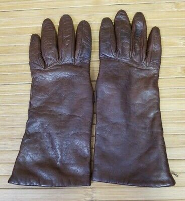 NORDSTROM Burgundy Brown Leather Cashmere Lined Gloves Womens Size 7.5