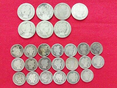 Lot Of 27 Silver Silver Barber Coins U.s. Silver Coins