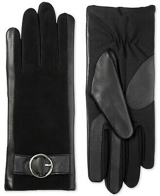 Isotoner Signature Women's SleekHeat Leather Touchscreen Gloves with Suede S/M
