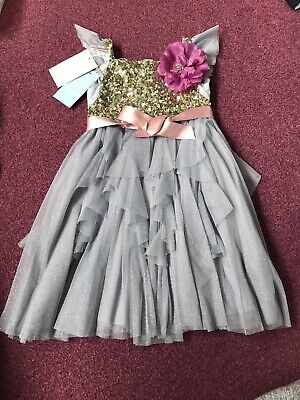 New Girls Monsoon sequence sparkly Glitter Party Dress / Flower Girl Age 3