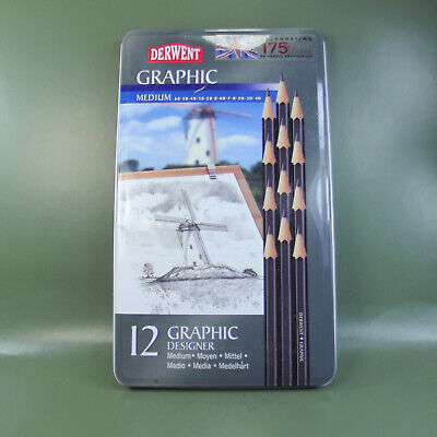 Derwent Graphic Designer MEDIUM pencils- Set of 12 Pack tin. New & sealed