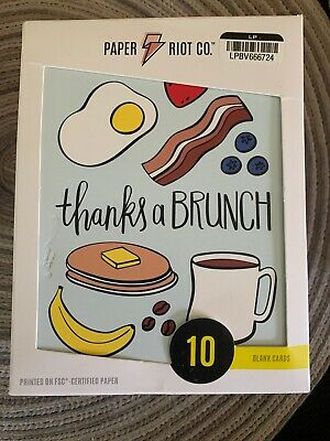 Paper Riot Co Thanks a Brunch Thank You Card Three Packs of 10 (30 Total Cards)