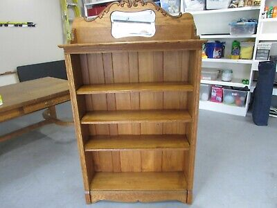 Vintage  Golden Oak Bookcase  With Beveled Mirror  Sweet