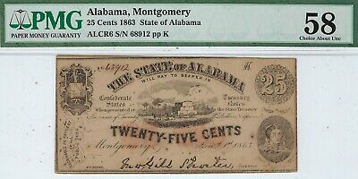AL-3 CR-6 1863 $0.25 Alabama Paper Money - PMG Choice About Uncirculated 58!