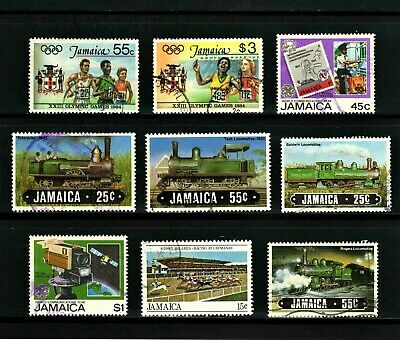 Jamaica -- 9 diff used commemoratives from 1983-85 -- cv $8.60