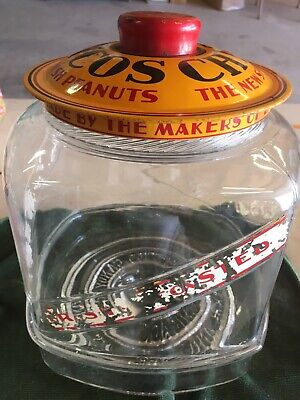 CURTISS CANDY CO CHICAGO CHICOS SPANISH PEANUTS 5 CENTS DISPLAY JAR No Base