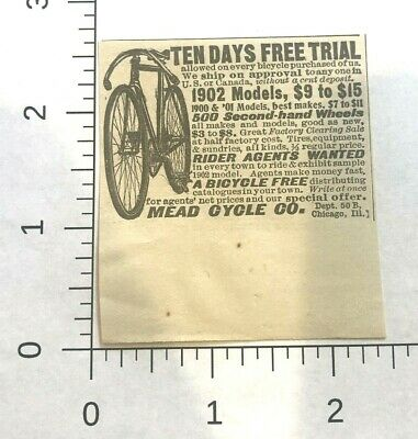 Mead Cycle PRINT AD - 1902 - Ranger Bicycle, bike -  CHICAGO , ILL