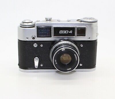 Fed 4 2nd Edition Russian 35mm Camera, case, Industar-61 lens, working meter VGC