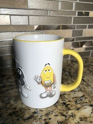 Mars M&M's Yellow Peanut Coffee Cup Mug Yellow Raised EUC