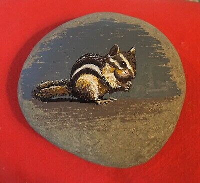 Hand Painted River Rock Art - Chipmunk