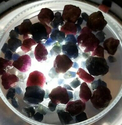 300+carats Lot Natural Blue Sapphire & Ruby Rough Crystals Africa Afghanistan