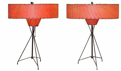 Pair of Vintage Retro ATOMIC Red Shade Lamps