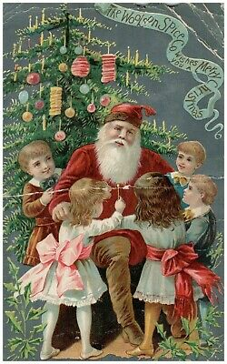 Vtg Santa Kids Lighted Christmas Tree Victorian Trade Picture Card Lion Coffee