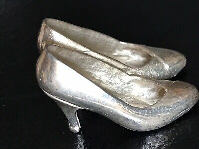Pair Vintage 1960s English Chantry Silversmith Sterling Pump Stiletto Heel Shoes