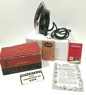 VINTAGE  '50-60's  SUNBEAM IRONMASTER  DRY IRON w/original box, tag, booklet