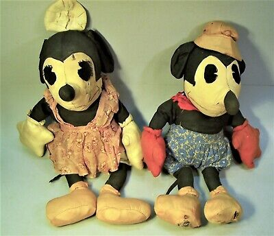 Rare Antique 18 inch Mickey and Minnie Mouse Cloth Dolls