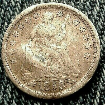 🇺🇸 1853 Liberty Seated Half Dime w/ Arrows  Great Details