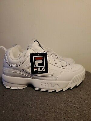 FILA Disruptor II Men's Leather Training Sneakers Triple White Shoes size 10