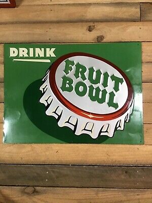 NOS - RARE - EMBOSSED 1940s  Fruit Bowl Soda Bottle Cap Sign - With Brown Paper