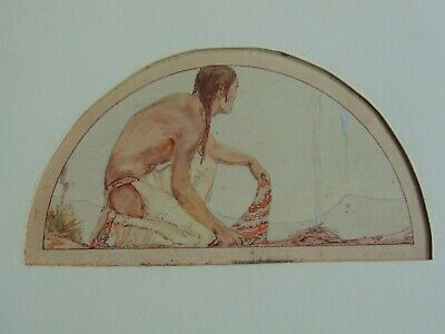 c.1926 NATIVE AMERICAN INDIAN PAINTING by ILA McAFEE - SENDING SMOKE SIGNALS