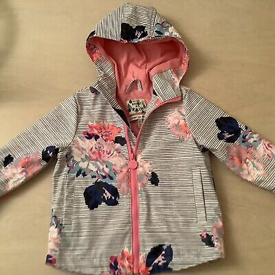 Girls Joules blue & white floral jacket age 1 year