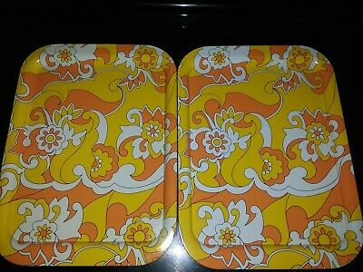 Lot of 2 Metal TV Trays Vtg 70s MCM Mod Orange Yellow Flower Power Psychedelic