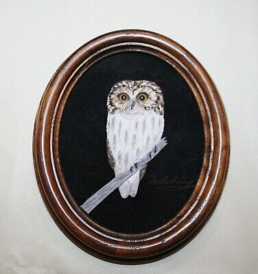 Vintage FELSBURG Leather Bird Carving Wildlife Wall Hanging 3D Owl on a Branch