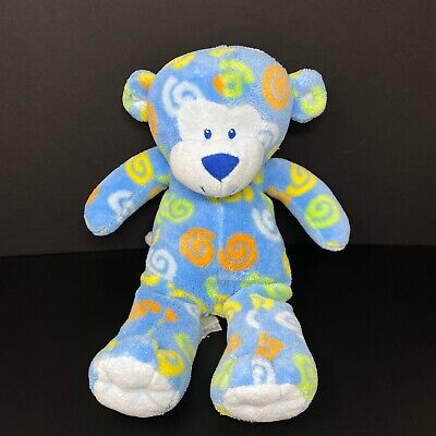 Baby Essentials Plush Monkey Blue Swirls Orange Green Yellow Squishy Sewn Eyes