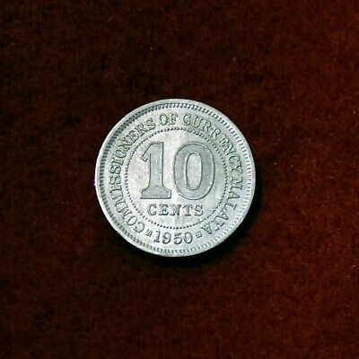 1950 Commissioners Of Currency Malaya 10 Cent Coin #1