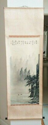 """Vintage Original Chinese Watercolor Landscape Painting Signed Silk Scroll 67"""""""