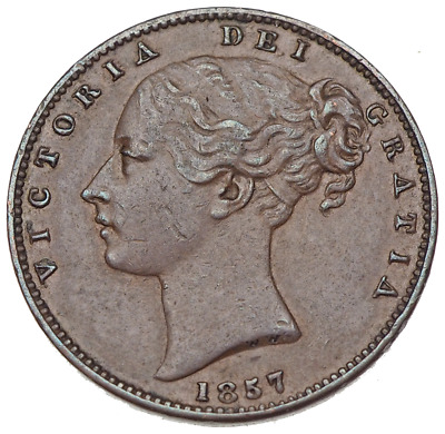 GREAT BRITAIN. Queen Victoria, Young Head Farthing, 1857