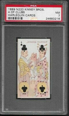 "Kinney Bros. N220-Harlequin Cards, "" 4 of Clubs ""  PSA    7"