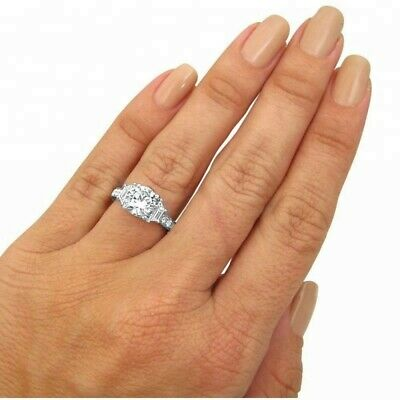 2 Ct Genuine Untreated Diamond Engagement Ring In Solid 14K White Gold, Round