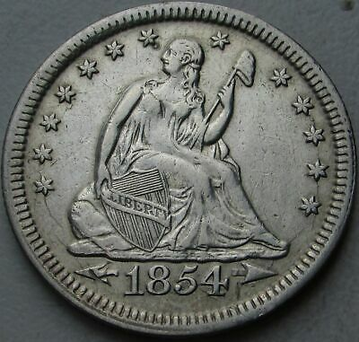 1854 Seated Liberty Silver Quarter in a SAFLIP® - AU- (XF+) Details