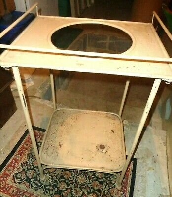 Antique Metal Painted Washstand Basin Wash Bowl Stand Towel Rack