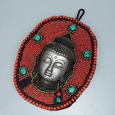 Collect Old Miao Silver Inlay Turquoise Carve Buddhism Kwan-Yin Decorate Statue