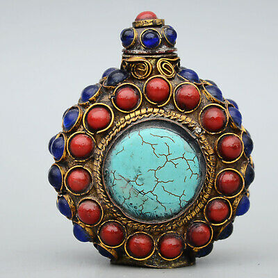 Collectable Old Bronze Armour Agate & Turquoise Hand-Carve Delicate Snuff Bottle