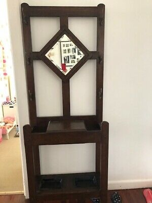 Antique Hall Stand with Drawer, Mirror & Hooks