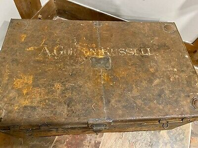 Pair Of Original Antique Very Old 18/19 Ce Metal Storage Chest Trunk Boxes Brass