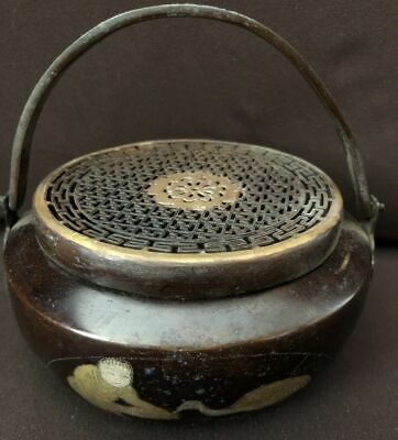 Rare Old Chinese Bronze Incense Burner Top Handle Censer with Cover Marked