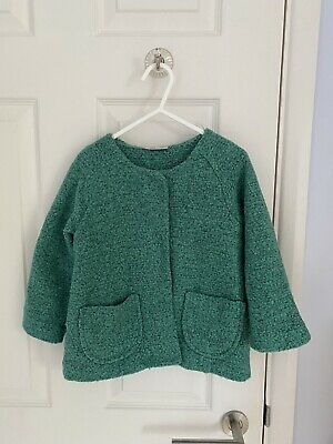 GREAT CONDITION Girls NEXT Green Boucle Lined Jacket 2-3 Years