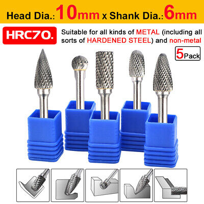 5x 1/4'' Tungsten Carbide Rotary Point Burr Die Grinder Shank Drill Bit Set 10mm